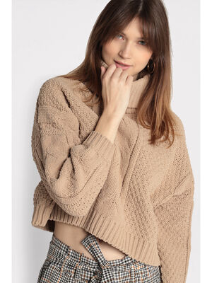 Pull manches longues col roule beige femme