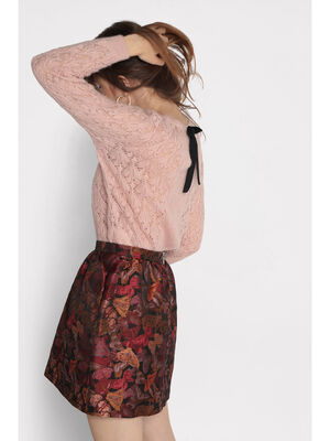 Pull ajoure col rond rose clair femme