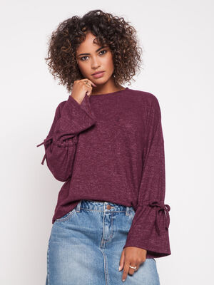 T shirt manches flare violet fonce femme