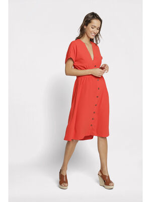 Robe cintree fluide a boutons rouge femme