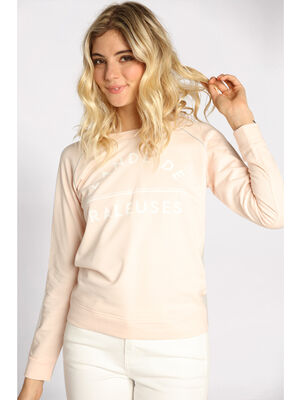 Sweat lace au dos rose clair femme