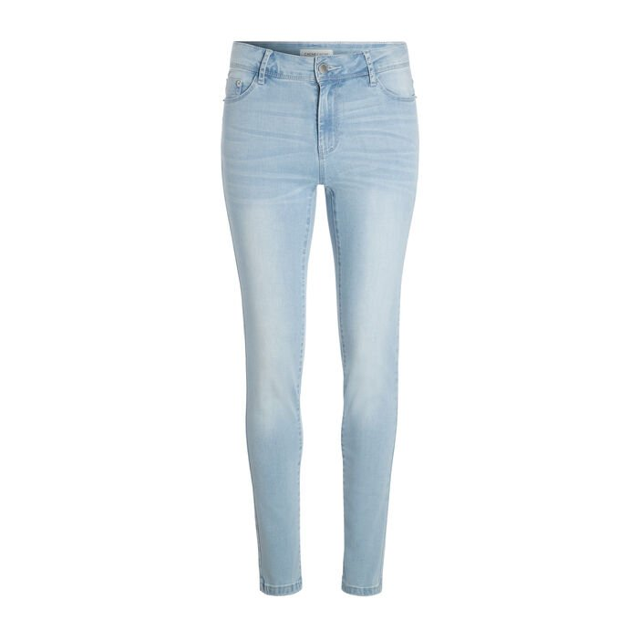 Jeans slim 5 poches denim bleach femme