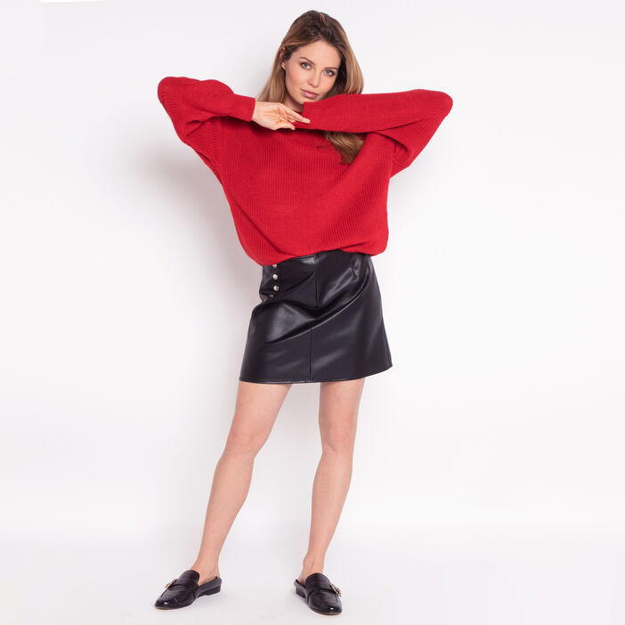 Pull manches ballon rouge femme