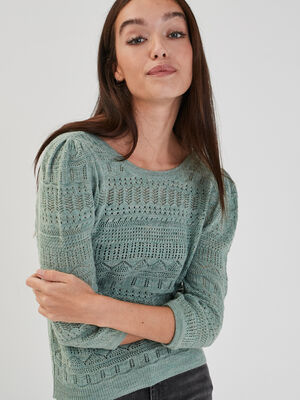 Pull manches 34 ajoure vert pastel femme