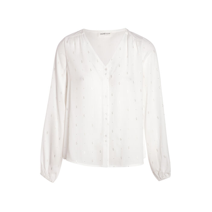 Chemise manches longues col V blanc femme