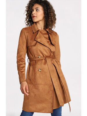 Trench a boutons en suedine camel femme