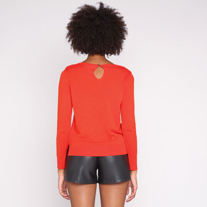 Pull manches longues col rond uni rouge femme