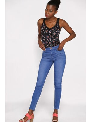 Jeans skinny taille haute used denim baby blue femme