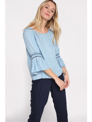 Blouse manches peplum a galon denim bleach femme