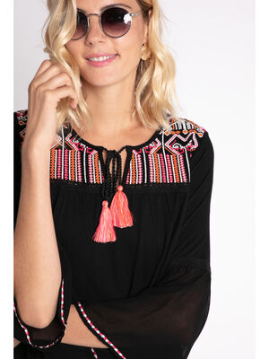 Blouse maille brodee ethnique noir femme