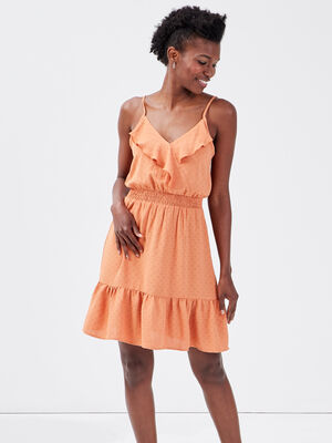 Robe evasee col cache coeur terracotta femme