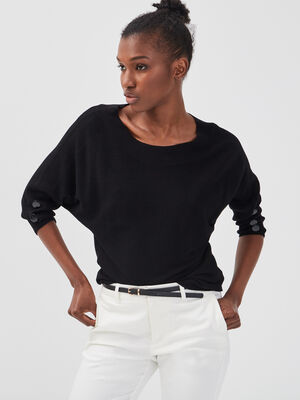 Pull manches 34 boutons noir femme
