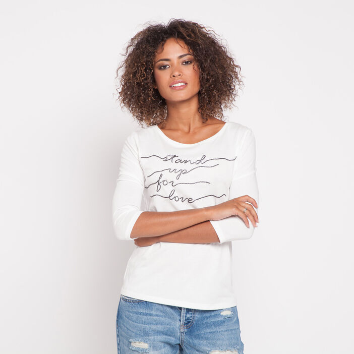 T-shirt manches 3/4 message sequins ecru femme