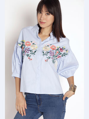 Chemise rayee broderie florale bleu clair femme