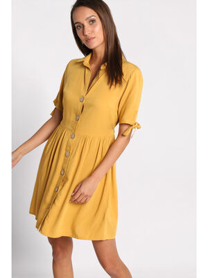 Robe droite chemise boutonnee jaune or femme