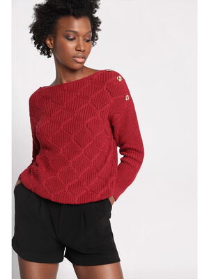 Pull manches longues a boutons rouge femme