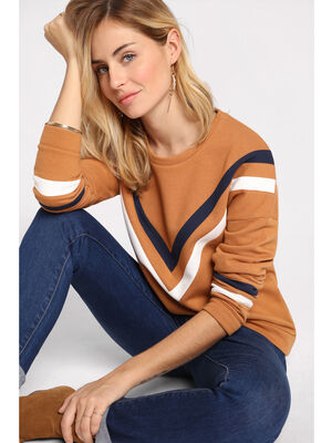 Sweat manches longues camel femme
