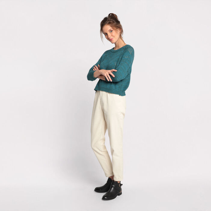 Pull manches 3/4 ajouré vert canard femme