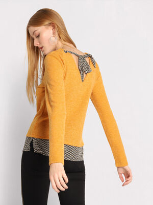 Pull dos ouvert avec noeud jaune moutarde femme