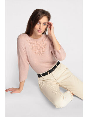 Pull manches 34 ajoure rose clair femme