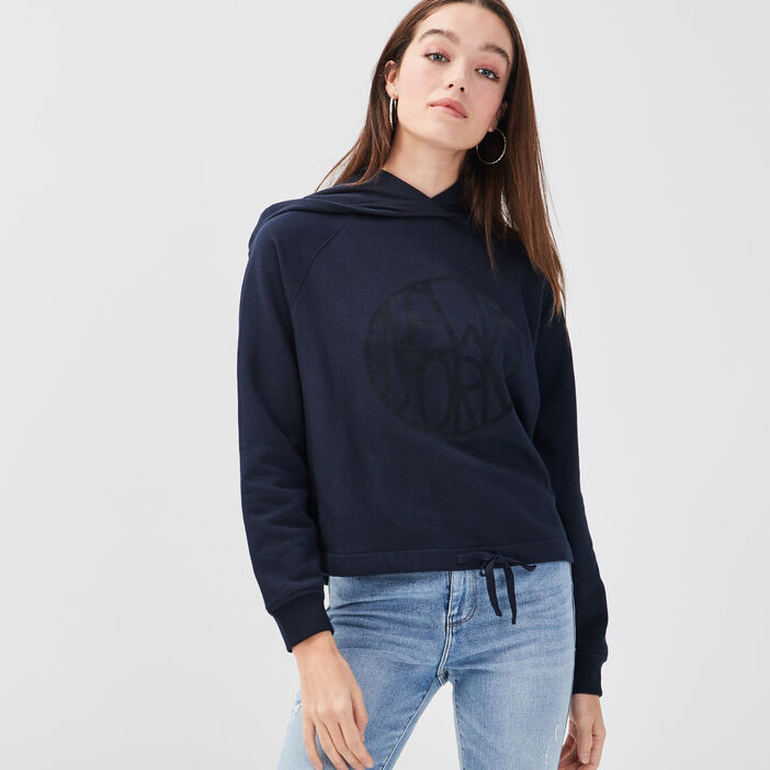 Sweat capuche taille coulisse bleu marine femme