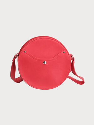 Sac rond a bandouliere rouge fonce femme