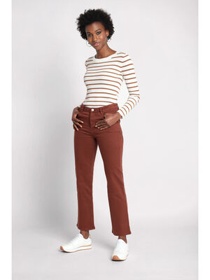 Pantalon regular a poches marron cognac femme
