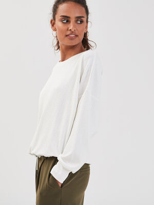 Sweat taille a coulisse ecru femme