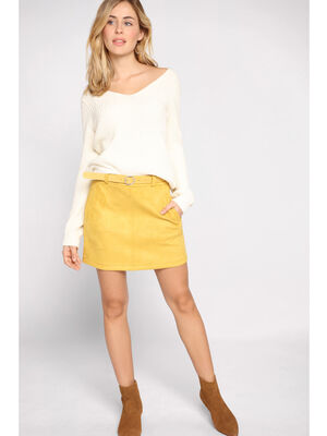 Jupe trapeze matiere suedee jaune or femme