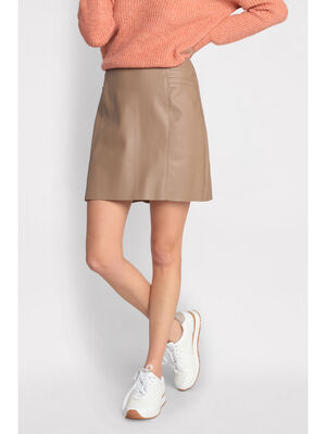 Jupe droite 2 poches taupe femme
