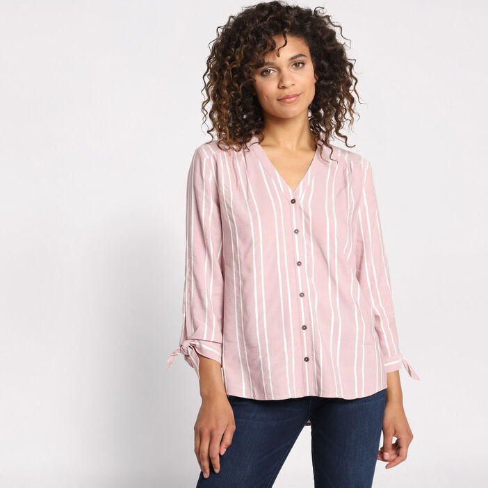 Chemise manches 3/4 à noeuds rose femme