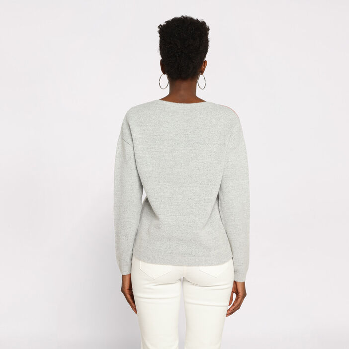 Pull manches longues col rond vieux rose femme