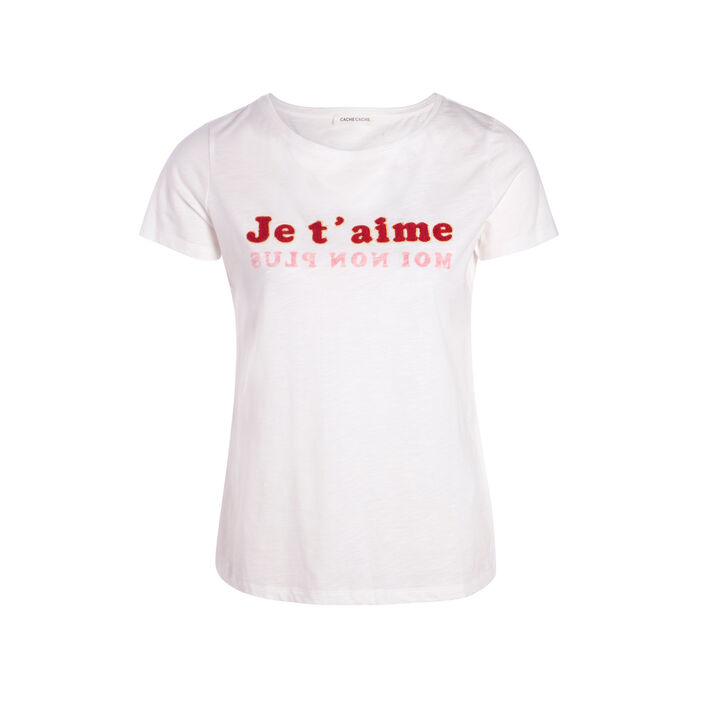 T-shirt à message coloré ecru femme