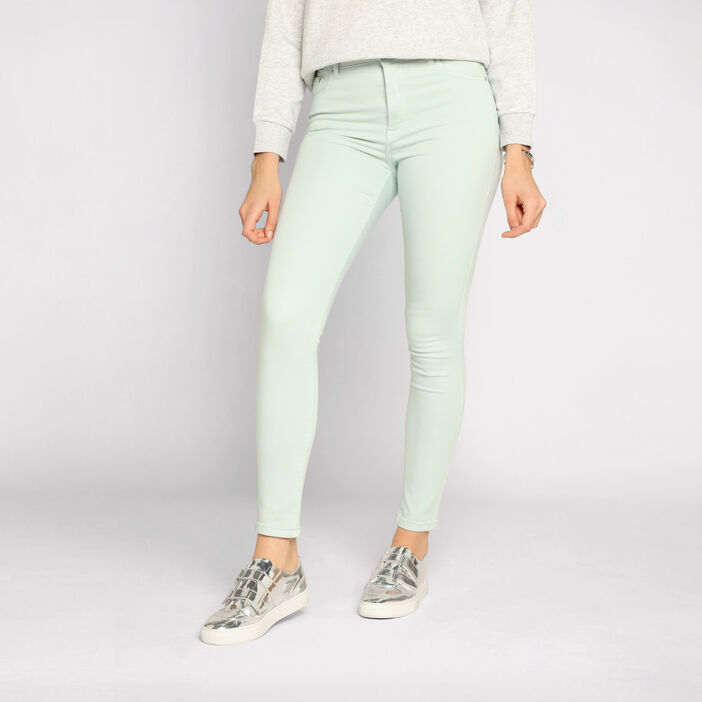Jeans skinny taille haute vert clair femme