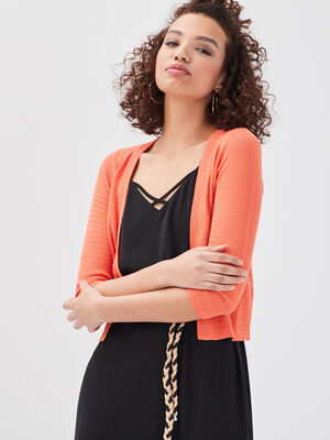 Gilet court manches 34 orange corail femme