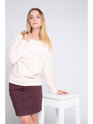 Sweat manches longues a message rose clair femme