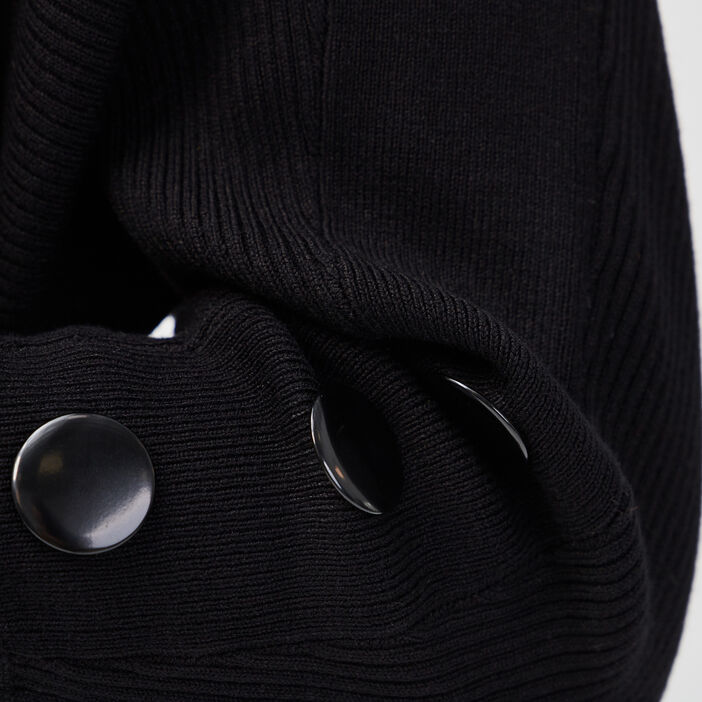 Pull manches 3/4 boutons noir femme
