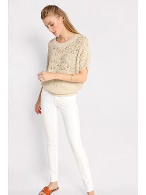 Pull manches courtes col rond ecru femme