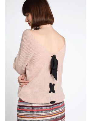 Pull maille ajouree lacage dos rose clair femme