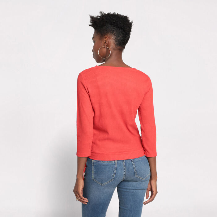 T-shirt manches 3/4 rouge femme