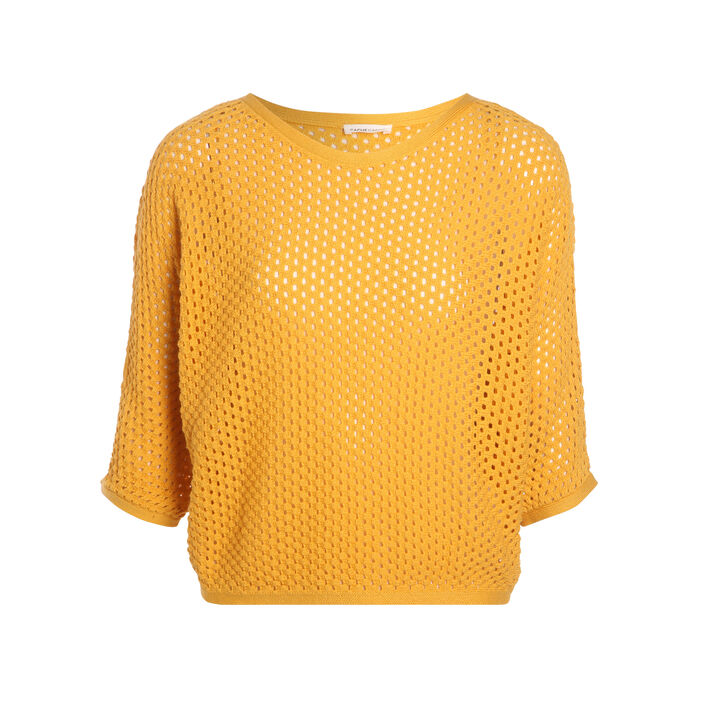 Pull manches 3/4 maille ajourée  femme