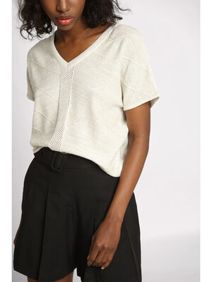 Pull manches courtes a relief ecru femme