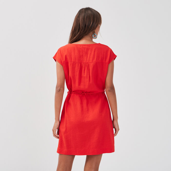 Robe droite lin rouge femme