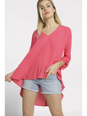 Blouse manches longues col V rose framboise femme