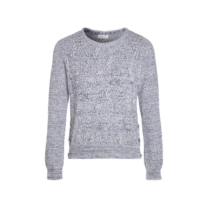Pull manches longues col rond bleu femme