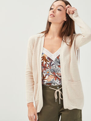 Cardigan mi long 2 poches sable femme