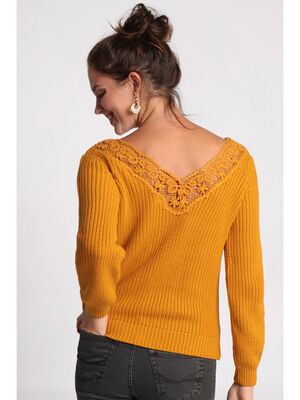 Pull manches longues macrame jaune moutarde femme