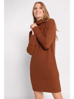 Robe pull col roule marron femme