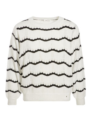 Pull ajoure col rond blanc femme