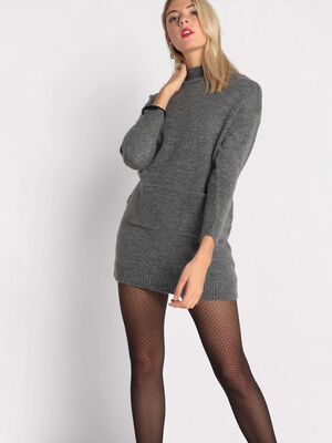 Robe pull droite col montant gris fonce femme